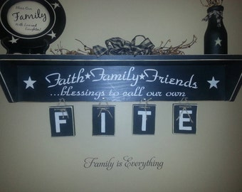 Name shelf faith family friends