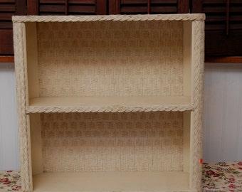 Vintage Wicker Shelf - Linen cabnit in shabby white/off white
