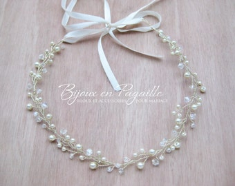Wedding hair accessory - bridal crown headband - crystal beads and ivory pearls
