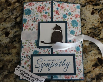 Stampin Up Homemade Greeting Card Cat Sympathy Card 3412