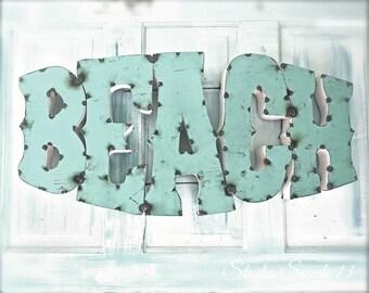 "Beach Artwork, Beach Word Art, Beach Sign Photo, Aqua Wall Art, Rustic Sign Art, Whimsical Beach Cottage, Zen Summer Decor- ""Rustic Beach"""
