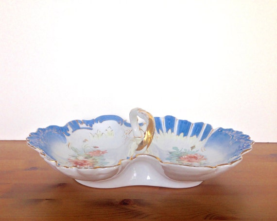 Vintage divided tray painted porcelain tidbit dish rose design