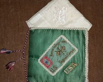 WWI Soldiers Memorabilia Silk Sweetheart Letter Holder Signal Corp Homefront Military