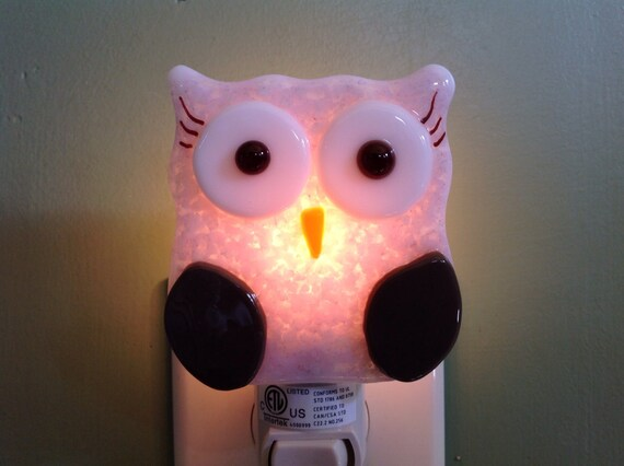 Fused Glass Pink And Brown Owl Night Light