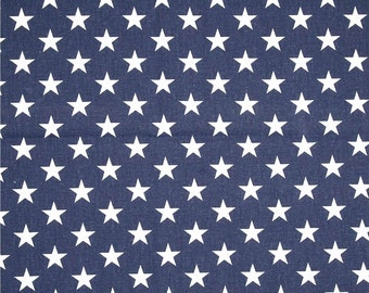 Stars Fabric by the Yard white with navy blue field American flag Premier Prints home decor upholstery fabrics - 1 yard or more - SHIPS FAST