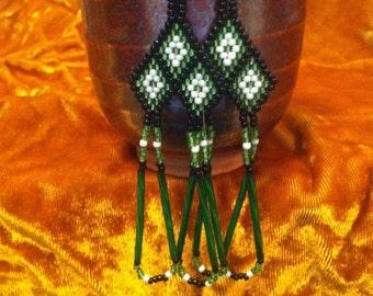 Green Three Diamonds Earrings