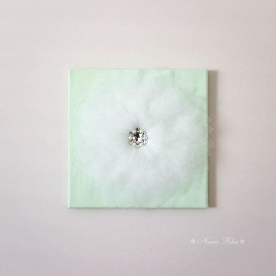 Mint decor shabby home decor flower chic tulle flower by for Room decor embellishment art 3d