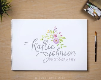 Calligraphy logo design - watercolor logo - photography logo
