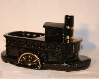 ceramic steam paddle boat planter, black glaze with gold accents, 9.5 inches long, Natchez