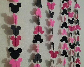 Mickey or Minnie mouse paper confetti garland baby shower or birthday part decorations Mickey mouse clubhouse