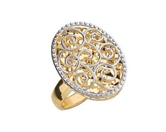 14K Two-Tone Diamond-Cut Oval Ring, Oval Ring, Diamond-Cut Ring, 14K Gold Ring, Gold Ring, Fancy Ring, Fancy Jewelry, Gold Jewelry