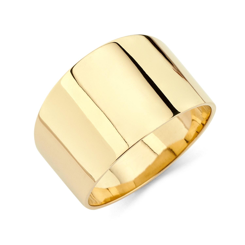 14k yellow gold cigar band cigar band polished ring gold