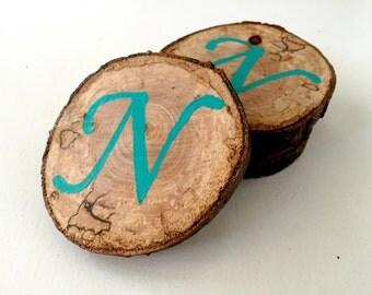 Set of 4 Monogrammed Wood Coasters