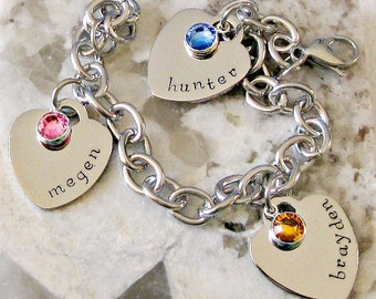 Personalized Hand Stamped Heart Charm Birthstone Mother's, Grandma Bracelet