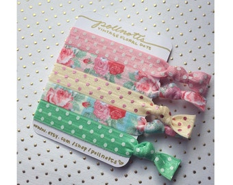Vintage Floral Dots Hairtie Set