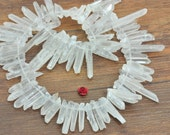 15 inches Natural Clear Matte White Rock Crystal,Spike Quartz Point, raw mineral drusy rock, rough beads in 4-7mm wide X 22-34mm length