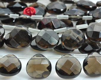 10 pcs of A Grade--Natural Smoky Quartz faceted briolette teardrop beads in 13x13mm