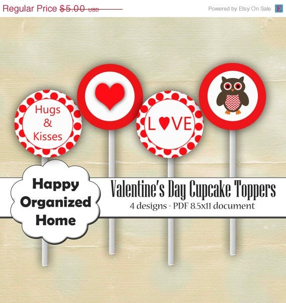 60% OFF 2 DAY SALE Valentine's Day Owl Party - Printable Cupcake toppers, Valentines Day Cupcake Topper, Printable Party - Instant Download