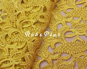 Bulk Discount 20% off - 5 Yards of Yellow lace fabric- Yellow Floral lace- Corn floral lace fabric- Floral Embroidered Lace-L71