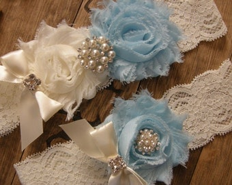 Something Blue Wedding Garters / Ivory / Light Blue / Vintage Inspired / Bridal Garter Set