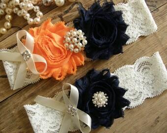 Something Blue / Wedding / Garter /  Navy Blue / Orange/ Vintage Inspried Lace Garter / Bridal Garter Set