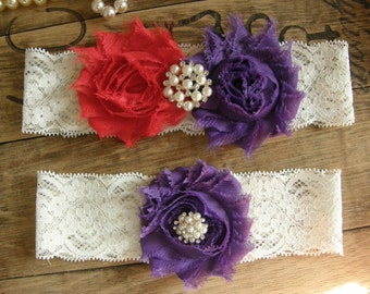 Red & Purple Wedding Garters / Garter / Bridal Garter / Toss Garter / Vintage Inspired / Garter Set