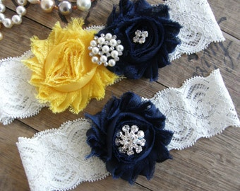 Something Blue / Wedding Garters / Wedding Garter Belt / Yellow / Navy Blue / Bridal Garter / Toss Garter / Vintage Inspired Lace Garter