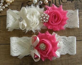 Ivory & Hot Pink Wedding Garters / Lace Garter / Bridal Garter / Toss Garter  / Vintage Inspired