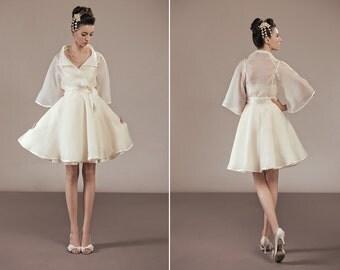 Kimiko bridal organza trench coat cover-up elegant 50s retro style semi-sheer