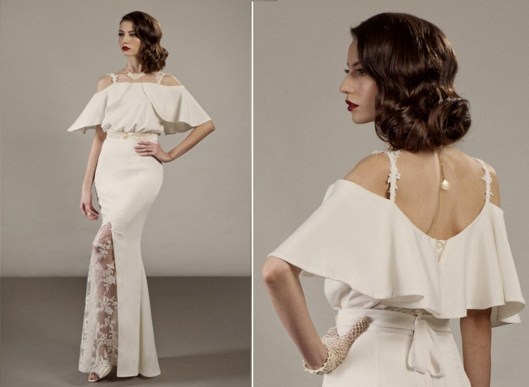 Unique Wedding Dresses Com: Veronica Two Piece Unique Wedding Dress Ensemble In Ivory