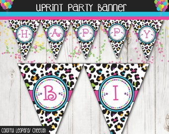 Leopard / Cheetah Print Colorful Birthday Banner - Personalized -