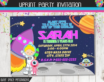 Girl Astronaut Invitation - Outer Space Invitation - Space Party - Astronaut Party