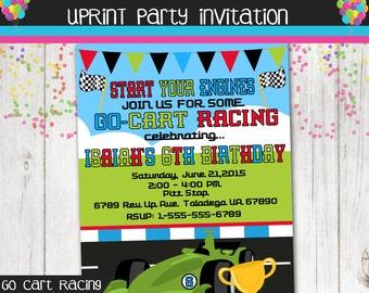 Go Cart Racing - Race Car - Go cart Party Invitation - Printable