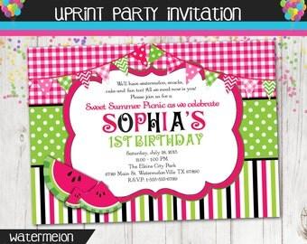 Watermelon Invitation - Picnic Invitation - Summer Party - Party in the Park