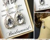 Rose Gold Earrings,cubic zircon,Wedding Jewellery,Rose Gold Bridal Jewelry SET,silver set,Bridal Set,Bridesmaids Jewelry Set,Crystal Pendant