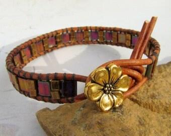 Tila Bead Wrap Bracelet ~ Pink Raspberry Fuchsia Gold Pansy Flower Button Leather Wrap Boho Bracelet Under 25 for Small Wrists