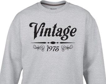 "New ""Vintage 1975"" UNISEX Sweatshirt For 41st Birthday Bar Crawl, Party, Wife, Husband, Girlfriend, Boyfriend, Brother, Sister, Friend S-2XL"