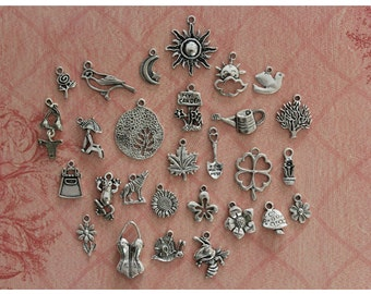 28 pcs Garden Party Collection Charms Antique Silver (CO59a)