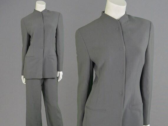 Vintage 90s GIORGIO ARMANI Minimalist Futuristic Womens Pant Suit Trouser Suit Grey Wool Black Label Stretch Jacket 1990s Designer Space Age