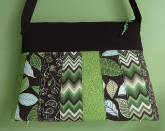 Pocketbook, Purse, Handbag, green and brown, handmade, cotton, fully lined with 3 inside pockets and zipper closure.