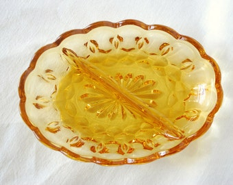 Vintage amber candy/nut dish