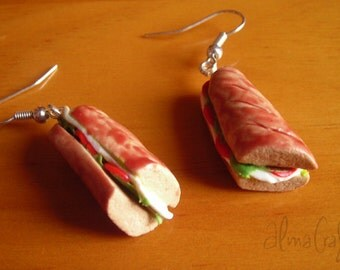Sandwich earrings in polymer clay