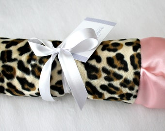 Animal Print, Leopard - Cheetah Print with Baby Pink Plush Lattice Minky & Coordinating Satin - Crib Bedding, Throw, Nursery, Baby Shower