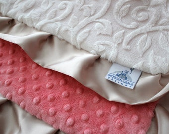 Ivory Embossed Vine with Coral Minky Dot and Gold Satin Trim Lovie, Baby Shower, Crib Bedding, Satin, Gold and Pink, Salmon