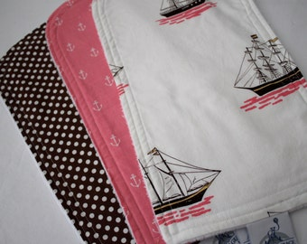 Polka Dots, Sailboats, and Anchors -  Burp Pads - Cloths - Cotton and Soft Chenille - Baby, Shower Gift, Nautical, Anchor, Brown and Pink