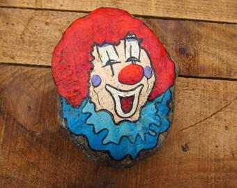 Vintage Silver City Souvenir - Painted Clown Rock - Strange Paperweight