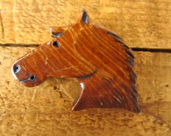 Vintage Carved Wood Horse Pin - Folk Art Wooden Horse Head Brooch