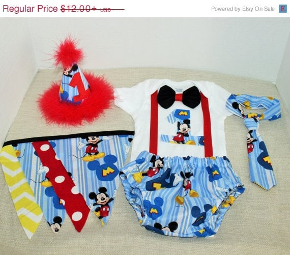Mickey Mouse Smash Cake: Mickey Mouse Cake Smash Outfit With Party Hat Mickey By