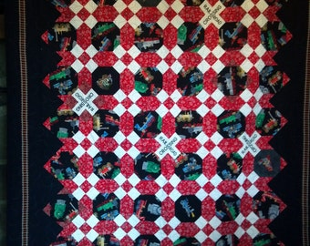 Twin sized Train quilt, Steam engine, train track, train lover, Railroad Crossing, 9-Patch,  63 x 87 inches.
