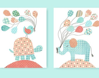 Aqua and Coral Nursery Art Turtle with Balloons Elephant Nursery Decor Girl's Room Decor Set of Two Prints Nursery Ideas Baby Shower Gift